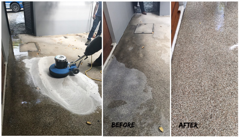 Floor Scrubbing before and after