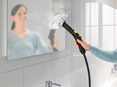 Steam cleaning Stubborn Lime and soap residue in bathrooms